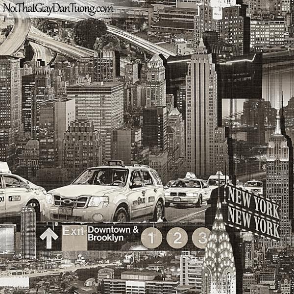 Giấy dán tường FIESTA Hàn Quốc FE1611-2 (2), giả tranh 3D, giấy dán tường giả tranh vẽ 3D, thành phố về đêm, cổ điển, màu đen trắng