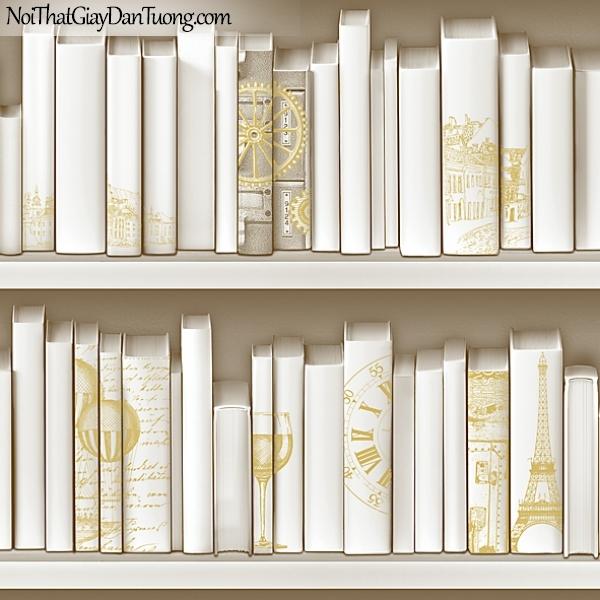 Giấy dán tường FIESTA Hàn Quốc FE1613-1 (2), giả tranh 3D, giấy dán tường giả tranh vẽ 3D, giả kệ sách, màu trắng