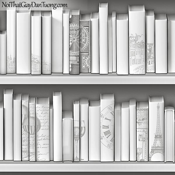 Giấy dán tường FIESTA Hàn Quốc FE1613-2 (3), giả tranh 3D, giấy dán tường giả tranh vẽ 3D, giả kệ sách, màu trắng