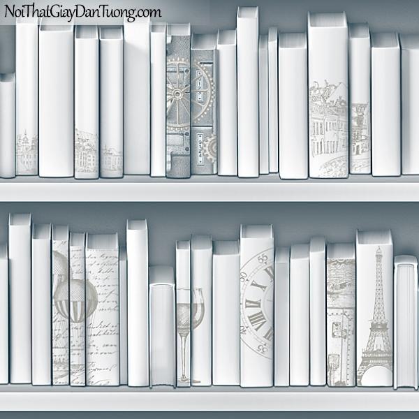 Giấy dán tường FIESTA Hàn Quốc FE1613-3 (2) PC, giả tranh 3D, giấy dán tường giả tranh vẽ 3D, giả kệ sách, màu trắng, phối cảnh