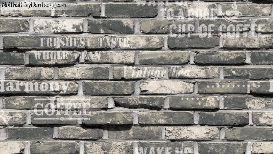 Giấy dán tường Natural Hàn Quốc 87032-1, giả gạch, giả đá, giả gỗ 3D, giấy dán tường giả gạch, màu nâu xám, chữ nổi, giấy dán tường cho quán cà phê, cafe
