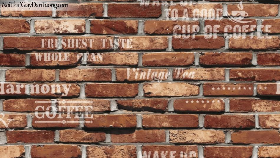 Giấy dán tường Natural Hàn Quốc 87032-2, giả gạch, giả đá, giả gỗ 3D, giấy dán tường giả gạch, màu cam đất, chữ nổi, giấy dán tường quán cà phê, cafe