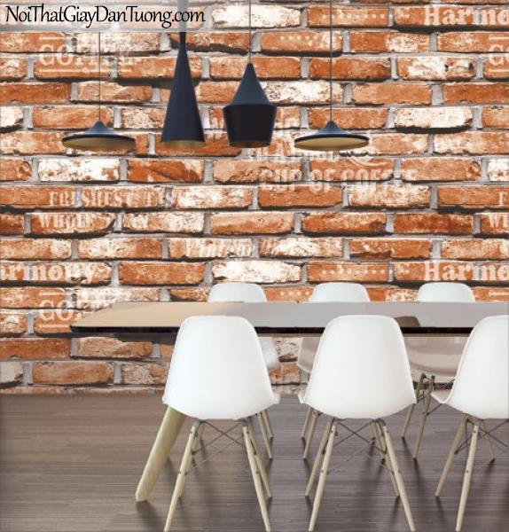 Giấy dán tường Natural Hàn Quốc 87032-2 PC, giả gạch, giả đá, giả gỗ 3D, giấy dán tường giả gạch, màu cam đất, phối cảnh