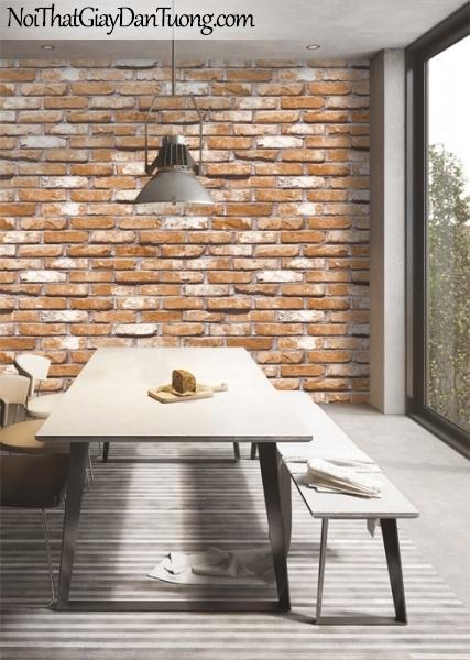 Giấy dán tường Natural Hàn Quốc 87033-2 PC, giả gạch, giả đá, giả gỗ 3D, giấy dán tường giả gạch, màu cam đất, phối cảnh