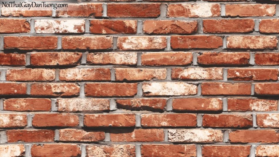 Giấy dán tường Natural Hàn Quốc 87033-3, giả gạch, giả đá, giả gỗ 3D, giấy dán tường giả gạch, màu cam đất