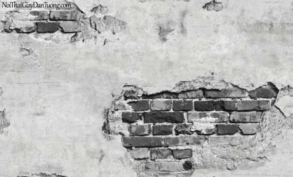 Giấy dán tường Natural Hàn Quốc 87034-1, giả gạch, giả đá, giả gỗ 3D, giấy dán tường giả gạch, màu nâu xám