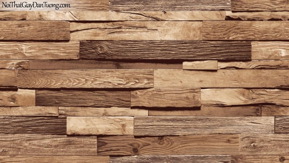Giấy dán tường Natural Hàn Quốc 87035-1, giả gạch, giả đá, giả gỗ 3D, giấy dán tường giả gỗ, màu vàng xám