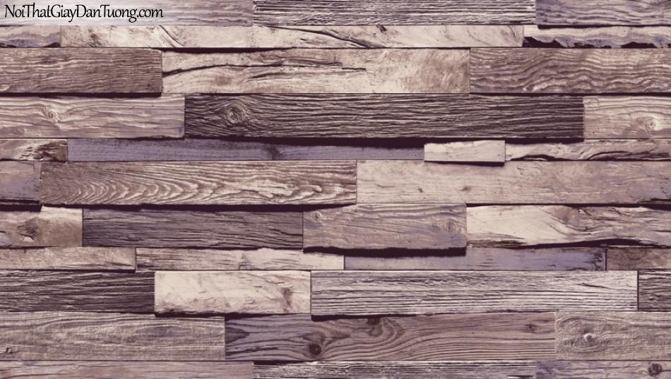 Giấy dán tường Natural Hàn Quốc 87035-3, giả gạch, giả đá, giả gỗ 3D, giấy dán tường giả gỗ, màu tím xám