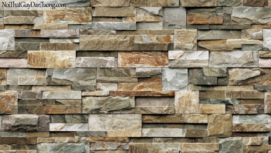 Giấy dán tường Natural Hàn Quốc 87038-2, giả gạch, giả đá, giả gỗ 3D, giấy dán tường giả đá, màu nâu vàng