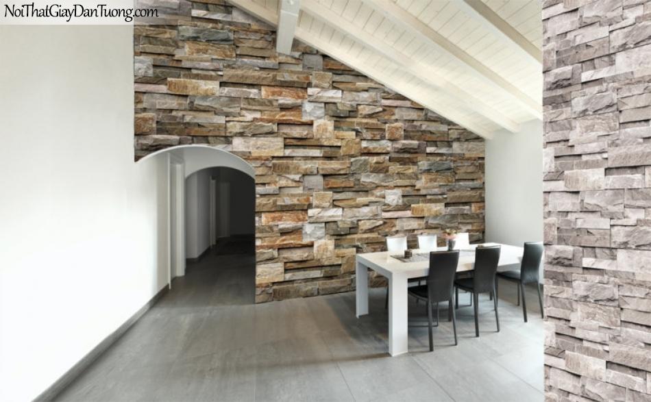 Giấy dán tường Natural Hàn Quốc 87038-2 PC, giả gạch, giả đá, giả gỗ 3D, giấy dán tường giả đá, màu cam đất, màu nâu xám, phối cảnh