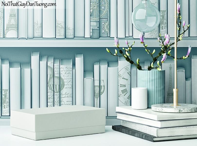 Giấy dán tường FIESTA Hàn Quốc FE1613-3, giả tranh 3D, giấy dán tường giả tranh vẽ 3D, giả kệ sách, màu trắng, cổ điển