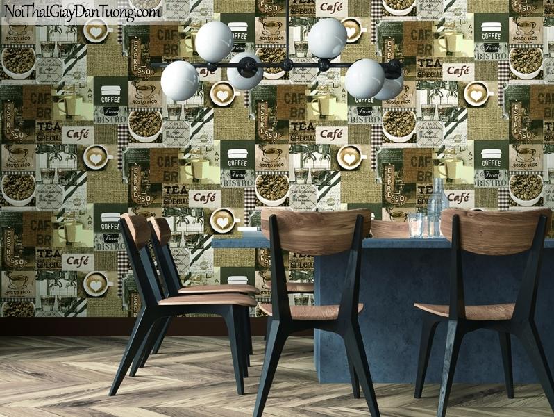 Giấy dán tường FIESTA Hàn Quốc FE1614-1 PC, giả tranh 3D, giấy dán tường giả tranh vẽ 3D, giấy báo, chữ nổi, phù hợp với quán cafe, nhà hàng, phối cảnh