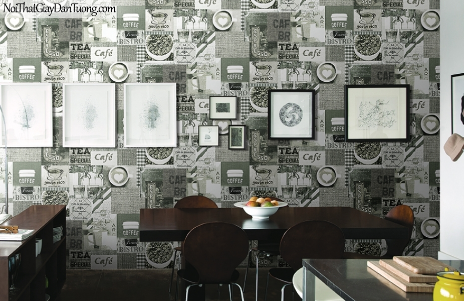 Giấy dán tường FIESTA Hàn Quốc FE1614-2 PC, giả tranh 3D, giấy dán tường giả tranh vẽ 3D, giấy báo, chữ nổi, phù hợp với quán cafe, nhà hàng, phối cảnh