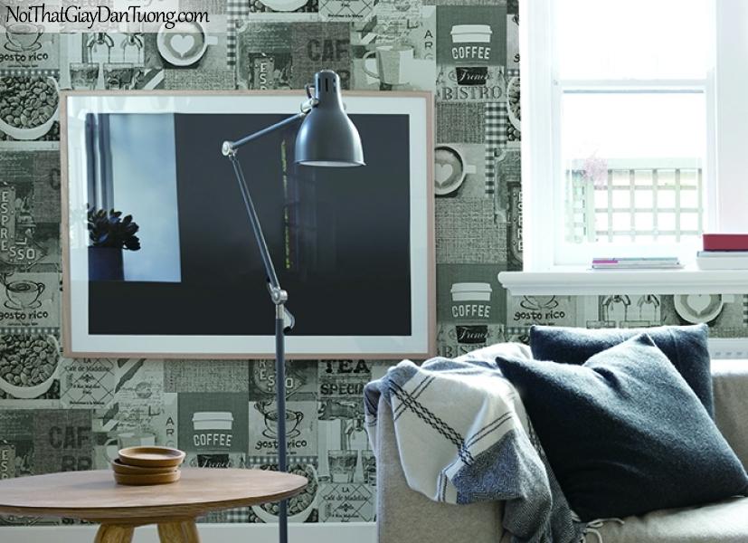 Giấy dán tường FIESTA Hàn Quốc FE1614-2(2) PC, giả tranh 3D, giấy dán tường giả tranh vẽ 3D, giấy báo, chữ nổi, phù hợp với quán cafe, nhà hàng, phối cảnh