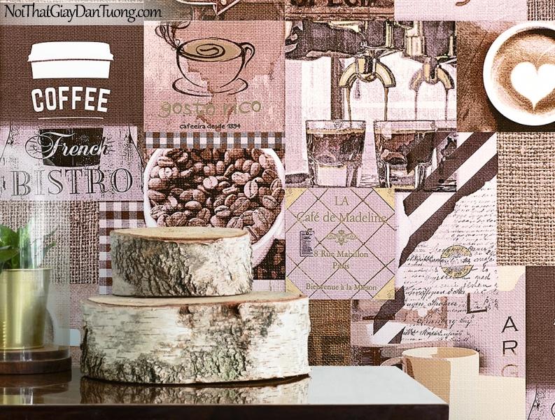 Giấy dán tường FIESTA Hàn Quốc FE1614-3 PC, giả tranh 3D, giấy dán tường giả tranh vẽ 3D, giấy báo, chữ nổi, phù hợp với quán cafe, nhà hàng, phối cảnh