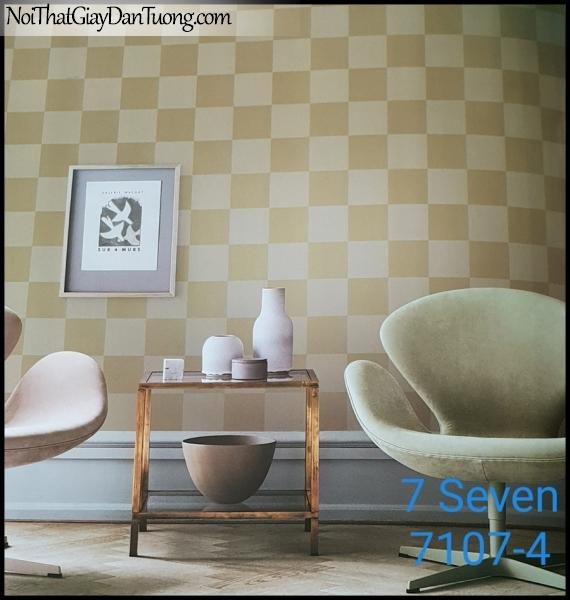 7 SEVEN, 7SEVEN, Giấy dán tường Hàn Quốc 7107-4 PC, giấy dán tường 3D gân nhỏ, giả đá, giả gỗ, giả gạch, màu trắng vàng xám, phối cảnh