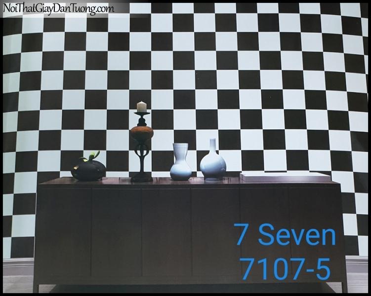 7 SEVEN, 7SEVEN, Giấy dán tường Hàn Quốc 7107-5 (2) PC, giấy dán tường 3D gân nhỏ, giả đá, giả gỗ, giả gạch, màu đen trắng, phối cảnh