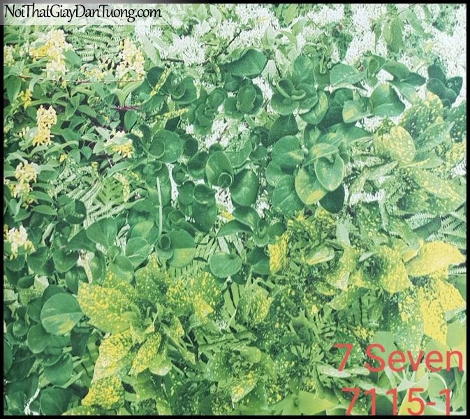 7 SEVEN, 7SEVEN, Giấy dán tường Hàn Quốc 7115-1 (2), giấy dán tường 3D gân nhỏ, giả đá, giả gỗ, giả gạch, cây, hoa, lá xanh