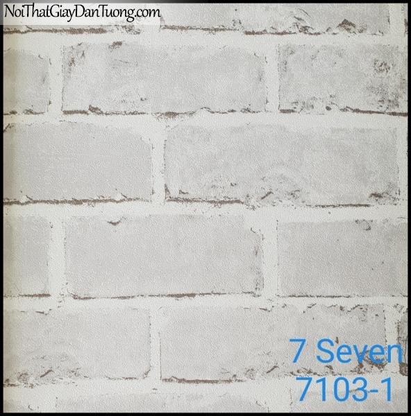 7 SEVEN, Giấy dán tường Hàn Quốc 7103-1 (2), giấy dán tường 3D gân nhỏ, giả gạch, phù hợp với nhà hàng, cafe