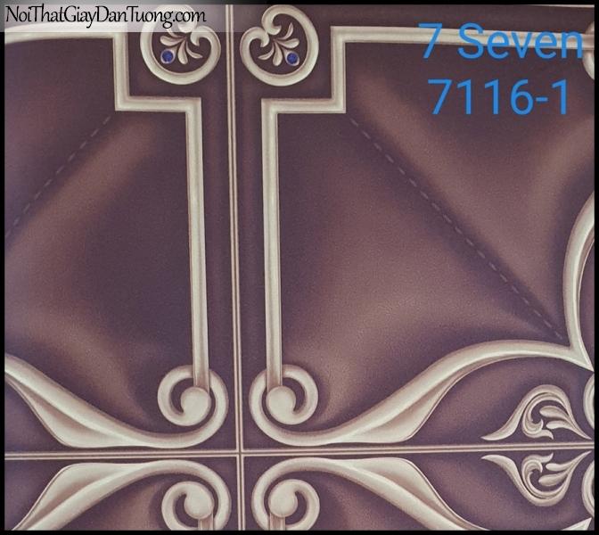 7 SEVEN, 7SEVEN, Giấy dán tường Hàn Quốc 7116-1, giấy dán tường 3D gân nhỏ, giả đá, giả gỗ, giả gạch, hoa văn cổ điển, màu nâu xám