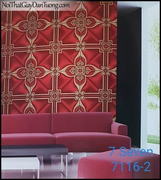 7 SEVEN, 7SEVEN, Giấy dán tường Hàn Quốc 7116-2 PC, giấy dán tường 3D gân nhỏ, giả đá, giả gỗ, giả gạch, hoa văn cổ điển, màu đỏ, phối cảnh