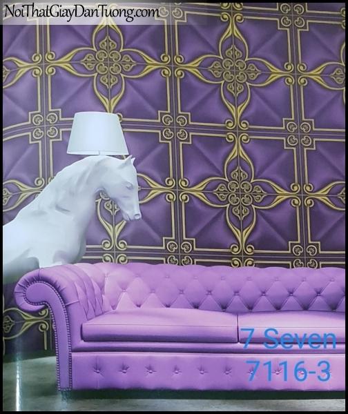 7 SEVEN, 7SEVEN, Giấy dán tường Hàn Quốc 7116-3 (2) PC, giấy dán tường 3D gân nhỏ, giả đá, giả gỗ, giả gạch, hoa văn cổ điển, màu tím, phối cảnh
