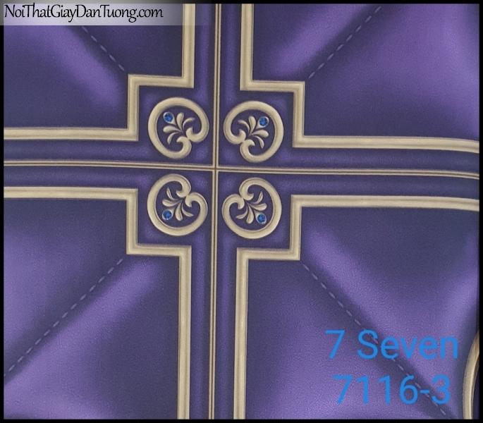 7 SEVEN, 7SEVEN, Giấy dán tường Hàn Quốc 7116-3, giấy dán tường 3D gân nhỏ, giả đá, giả gỗ, giả gạch, hoa văn cổ điển, màu tím