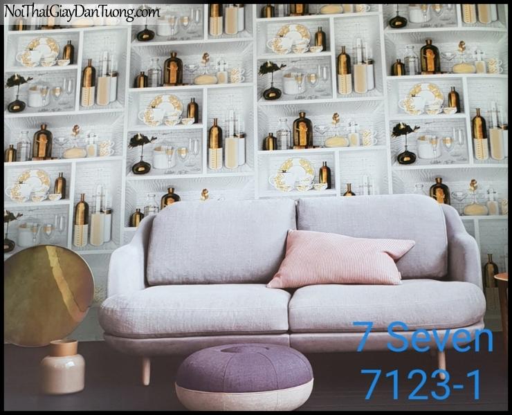 7 SEVEN, 7SEVEN, Giấy dán tường Hàn Quốc 7122-1 (2) PC, giấy dán tường 3D gân nhỏ, giả đá, giả gỗ, giả gạch, giả kệ quán bar 3D, màu cam xám