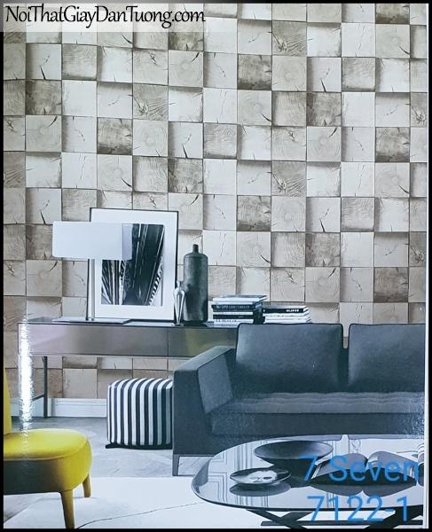 7 SEVEN, 7SEVEN, Giấy dán tường Hàn Quốc 7122-1 PC, giấy dán tường 3D gân nhỏ, giả đá, giả gỗ, giả gạch, màu nâu xám, phối cảnh