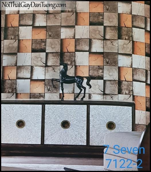 7 SEVEN, 7SEVEN, Giấy dán tường Hàn Quốc 7122-2 (2) PC, giấy dán tường 3D gân nhỏ, giả đá, giả gỗ, giả gạch, màu cam xám, phối cảnh