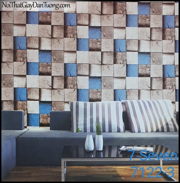7 SEVEN, 7SEVEN, Giấy dán tường Hàn Quốc 7122-3 PC, giấy dán tường 3D gân nhỏ, giả đá, giả gỗ, giả gạch, màu xanh xám, phối cảnh