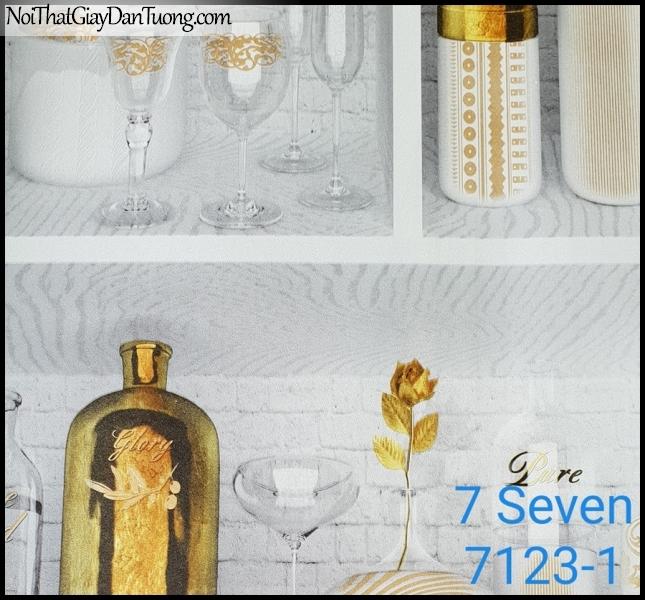 7 SEVEN, 7SEVEN, Giấy dán tường Hàn Quốc 7123-1, giấy dán tường 3D gân nhỏ, giả đá, giả gỗ, giả gạch, giả kệ quán bar 3D, màu cam xám