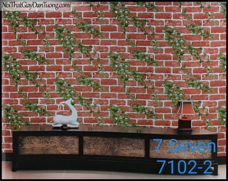 7 SEVEN, Giấy dán tường Hàn Quốc 7102-2(2) PC, giấy dán tường 3D gân nhỏ, giả gạch, cổ điển, phù hợp với nhà hàng, cafe