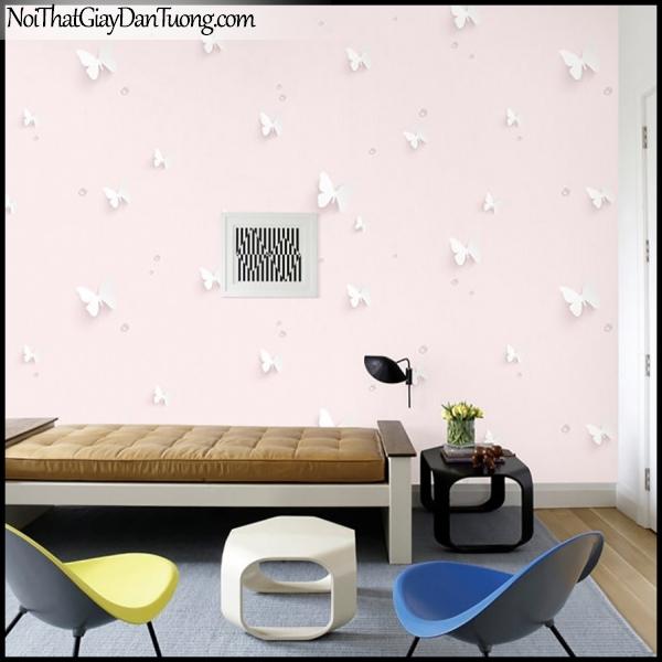 PLENUS, Giấy dán tường Hàn Quốc 2602-2m PC, Giấy dán tường sọc nhỏ, gân li ti, họa tiết 3D hình con bướm, màu hồng kem, phối cảnh