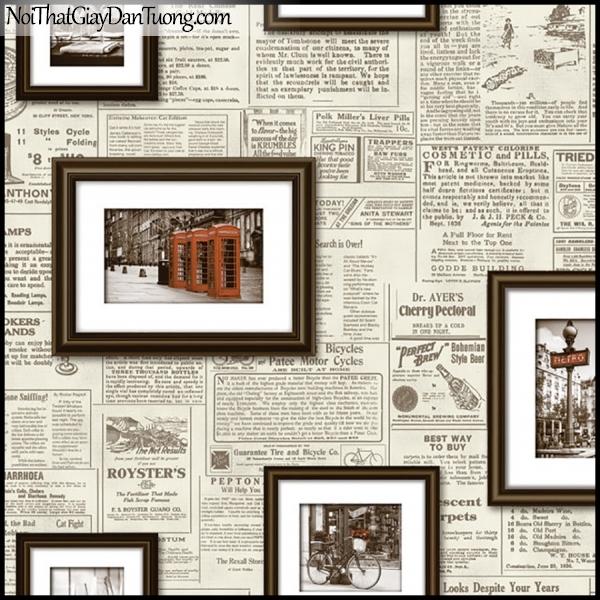 PLENUS, Giấy dán tường Hàn Quốc 2609-2, Giấy dán tường 3D giả báo, viết chữ, tạp chí