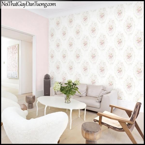 PLENUS, Giấy dán tường Hàn Quốc 2611-2 - 2610-2m PC, Giấy dán tường 3D hoa văn hiện đại, màu hồng trắng, phối cảnh