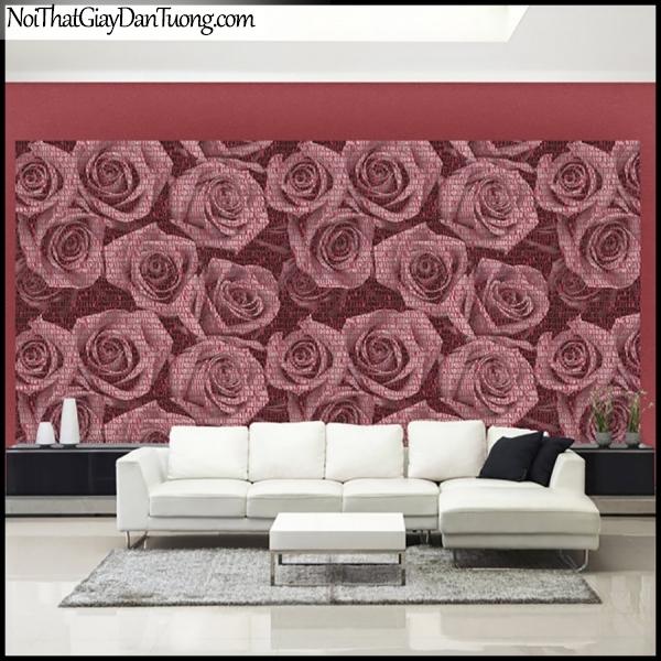 PLENUS, Giấy dán tường Hàn Quốc 2615-1, Giấy dán tường 3D nền hoa hồng, chữ nổi, màu hồng, phối cảnh