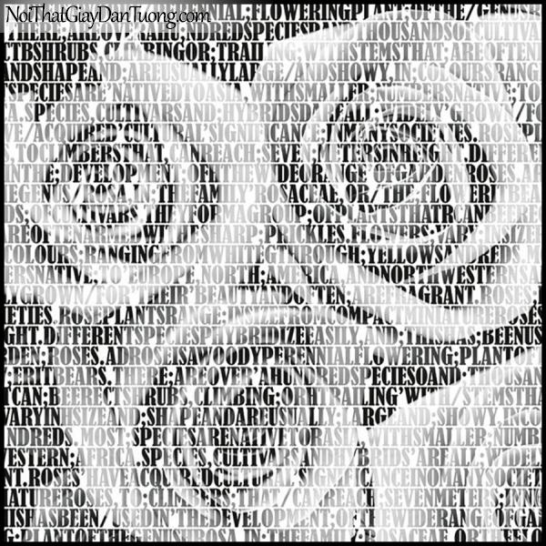 PLENUS, Giấy dán tường Hàn Quốc 2615-1, Giấy dán tường 3D nền hoa hồng, chữ nổi, màu nâu xám