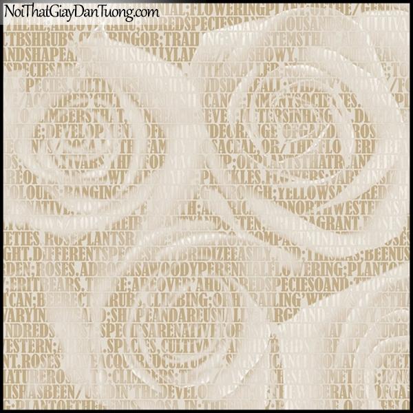 PLENUS, Giấy dán tường Hàn Quốc 2615-2, Giấy dán tường 3D nền hoa hồng, chữ nổi, màu vàng kem