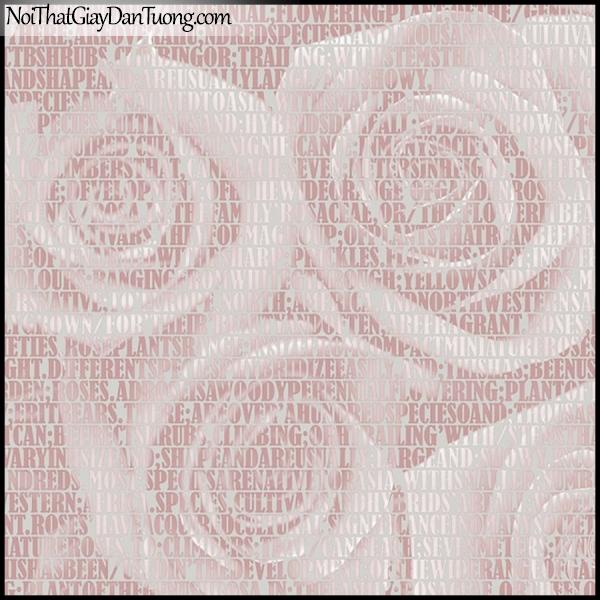 PLENUS, Giấy dán tường Hàn Quốc 2615-3, Giấy dán tường 3D nền hoa hồng, chữ nổi, màu tím