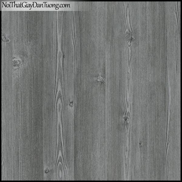 PLENUS, Giấy dán tường Hàn Quốc 2616-3, Giấy dán tường 3D giả gỗ, màu nâu xám