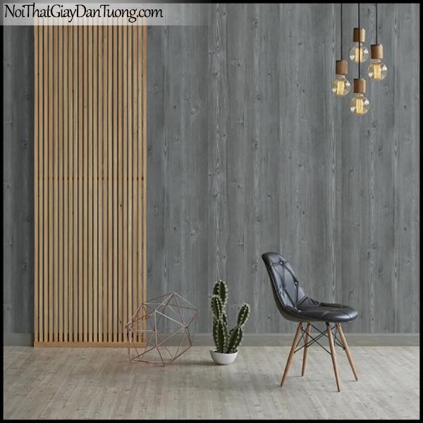 PLENUS, Giấy dán tường Hàn Quốc 2616-3m PC, Giấy dán tường 3D giả gỗ, màu nâu xám, phối cảnh