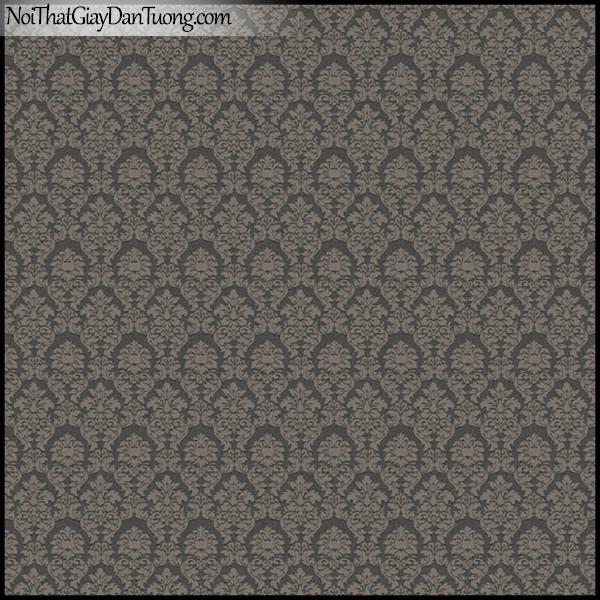 PLENUS, Giấy dán tường Hàn Quốc 2621-3, Giấy dán tường họa tiết hoa văn cổ điển, màu nâu đen