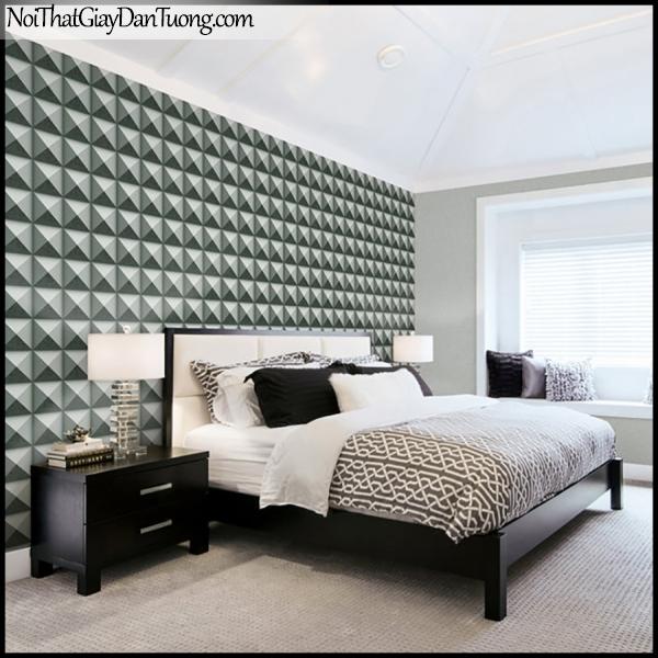 PLENUS, Giấy dán tường Hàn Quốc 2622-3m PC, Giấy dán tường 3D giả gạch, giả đá, màu nâu đen, phối cảnh