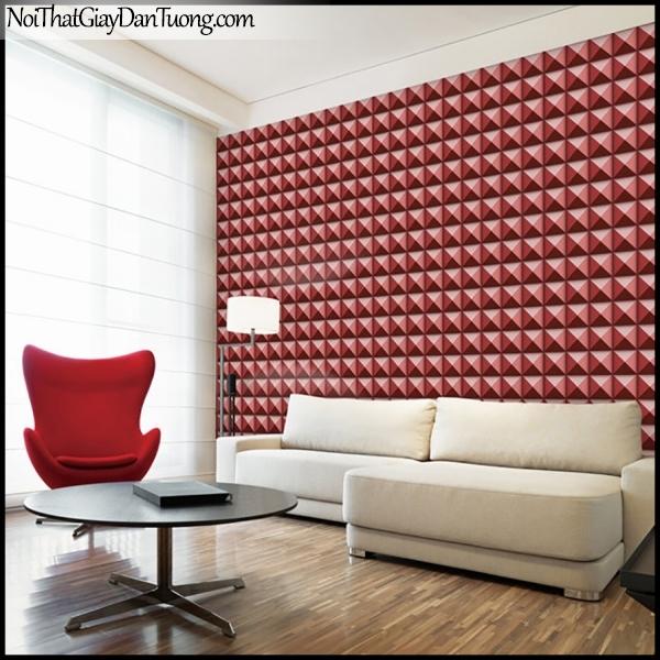 PLENUS, Giấy dán tường Hàn Quốc 2622-4m PC, Giấy dán tường 3D giả gạch, giả đá, màu đỏ đô, phối cảnh