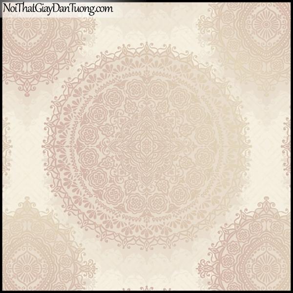 PLENUS, Giấy dán tường Hàn Quốc 2626-2, Giấy dán tường 3D họa tiết hoa văn cổ điển, màu hồng kem