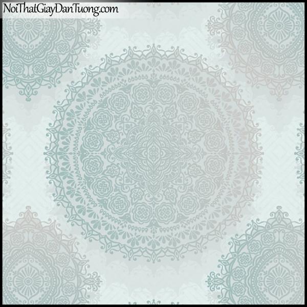 PLENUS, Giấy dán tường Hàn Quốc 2626-3, Giấy dán tường 3D họa tiết hoa văn cổ điển, màu xanh