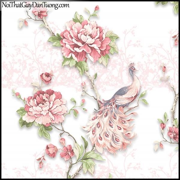 PLENUS, Giấy dán tường Hàn Quốc 2630-1, Giấy dán tường 3D hoa văn đẹp, chim, hoa hồng