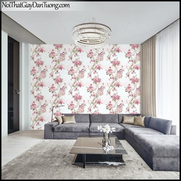 PLENUS, Giấy dán tường Hàn Quốc 2630-2 - 2629-3m PC, Giấy dán tường 3D hoa văn đẹp, chim, hoa hồng, phối cảnh