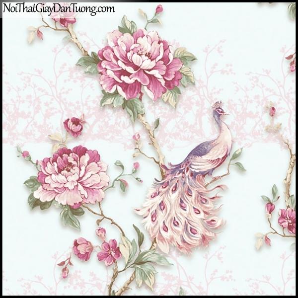 PLENUS, Giấy dán tường Hàn Quốc 2630-2, Giấy dán tường 3D hoa văn đẹp, chim, hoa hồng